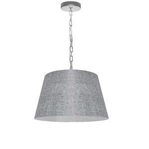Dainolite Brynn Pendant Light - 1-Light - 14-in x 7-in - Polished Chrome/Light Grey