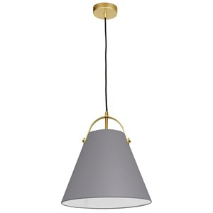 Dainolite Emperor Pendant Light - 1-Light - 13-in x 11-in - Aged Brass/Grey