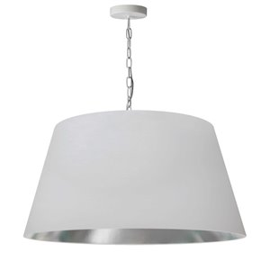 Dainolite Brynn Pendant Light - 1-Light - 26-in x 13-in - White and silver