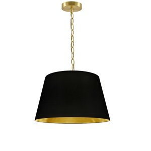 Dainolite Brynn Pendant Light - 1-Light - 14-in x 7-in - Aged Brass/Black and Gold