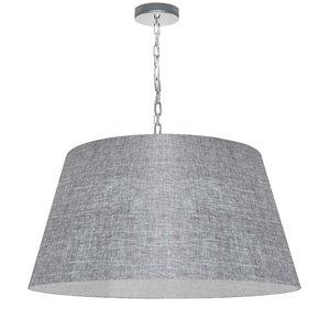 Dainolite Brynn Pendant Light - 1-Light - 26-in x 13-in - Polished Chrome/Light Grey
