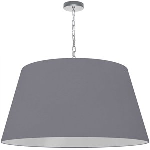 Dainolite Brynn Pendant Light - 1-Light - 32-in x 16-in - Polished Chrome and Grey