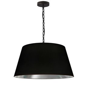 Dainolite Brynn Pendant Light - 1-Light - 20-in x 10-in - Black and Silver