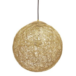 Dainolite Payton Pendant Light - 1-Light - 15.75-in x 15.75-in - Black/Gold