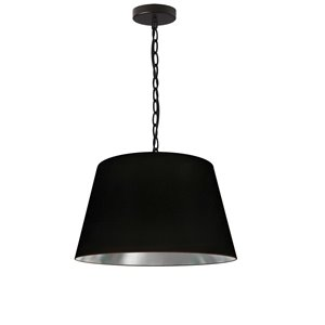 Dainolite Brynn Pendant Light - 1-Light - 14-in x 7-in - Black and Silver