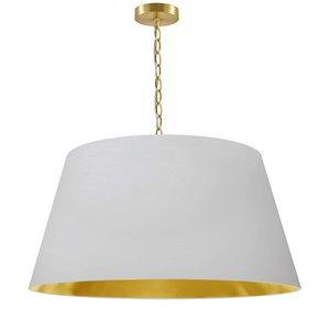 Dainolite Brynn Pendant Light - 1-Light - 26-in x 13-in - Aged Brass/White and Gold