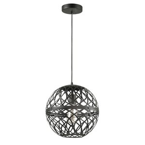 Dainolite Signature Pendant Light - 1-Light - 12-in x 12.5-in - Matte Black
