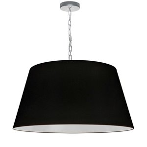 Dainolite Brynn Pendant Light - 1-Light - 26-in x 13-in - Polished Chrome/Black