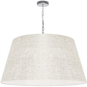 Dainolite Brynn Pendant Light - 1-Light - 32-in x 16-in - Polished Chrome/Off-White