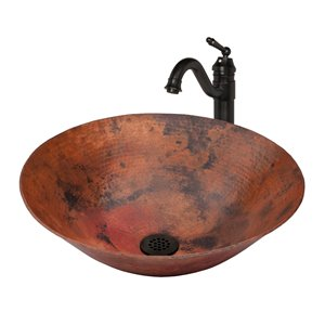 Novatto Catalonia Round Vessel Sink - 18-in - Hammered Natural Copper/Oil Rubbed Bronze