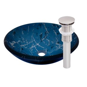 Novatto Marmo Round Vessel Sink - 16.5-in - Blue Glass/Brushed Nickel