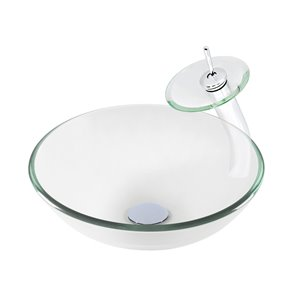 Novatto Best Value Round Vessel Sink - 16-in - Clear Glass/Chrome