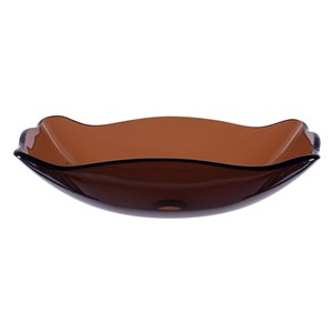 Novatto Marrone  Vessel Sink - 15-in - Brown Glass/Brushed Nickel