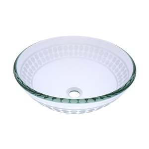 Novatto Imponeren Round Vessel Sink - 16.5-in - Frosted Glass/Brushed Nickel