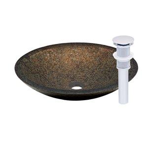 Novatto Laghetto Round Vessel Sink - 17.75-in - Brown Glass/Chrome