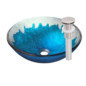 Novatto Diaccio Round Vessel Sink - 16.5-in - Blue and Silver/Brushed Nickel