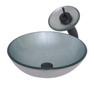 Novatto Argento Round Vessel Sink - 16-in - Silver Glass/Oil Rubbed Bronze