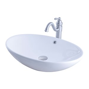 Novatto Porcelain Oval Vessel Sink - 24.75-in - White/Brushed Nickel