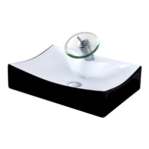 Novatto Porcelain Rectangular Vessel Sink - 22-in - Black and White/Chrome