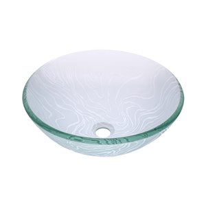 Novatto Gelo Round Vessel Sink - 16.5-in - Frosted Glass/Chrome