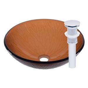 Novatto Gambo Round Vessel Sink - 16.5-in - Brown Glass/Chrome