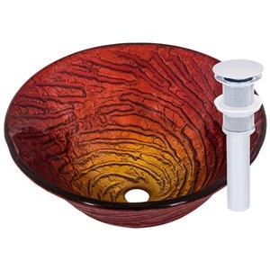 Novatto Misto Round Vessel Sink - 17-in - Red Glass/Chrome Drain