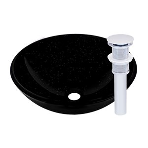 Novatto Glassia Round Vessel Sink - 16.5-in - Black Glass/Chrome