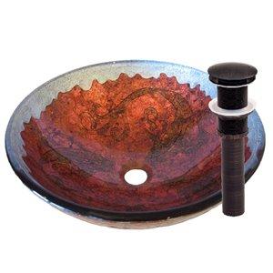 Novatto Carpione Round Vessel Sink - 16.5-in - Red and Silver/Oil Rubbed Bronze
