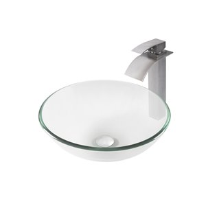 Novatto Bonificare Round Vessel Sink - 16-in - Clear Glass/Brushed Nickel Drain