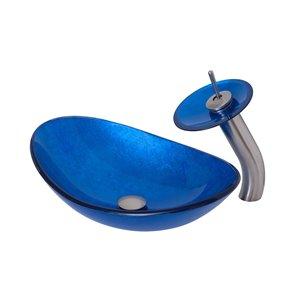 Novatto Azzurro Oval Vessel Sink - 13.5-in - Blue Glass/Brushed Nickel