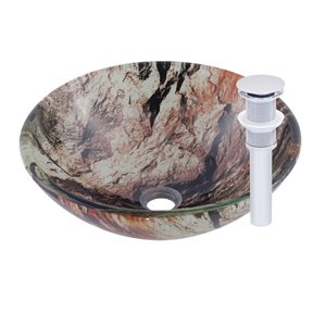 Novatto Cullare Round Vessel Sink - 16.5-in - Pink Marbled Glass/Chrome