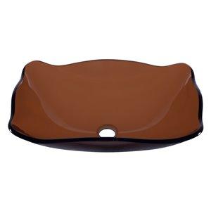 Novatto Marrone  Vessel Sink - 15-in - Brown Glass/Oil Rubbed Bronze