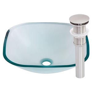 Novatto Piazza Square Vessel Sink - 16.5-in - Clear Glass/Brushed Nickel