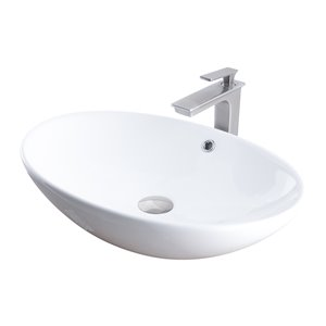Novatto Porcelain Oval Vessel Sink - 24.75-in - White/Brushed Nickel Drain