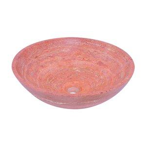 Novatto Travertine Round Vessel Sink - 17-in - Red Polished Stone/Brushed Nickel