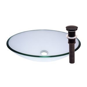 Novatto Ovale Vessel Sink - 15-in - Clear Glass/Oil Rubbed Bronze