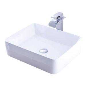 Novatto Porcelain Rectangular Vessel Sink - 20.75-in - White/Chrome Drain