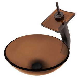 Novatto Best Value Round Vessel Sink - 16-in - Brown Glass/Oil Rubbed Bronze