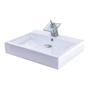 Novatto Porcelain Rectangular Vessel Sink - 22.25-in - White/Brushed Nickel