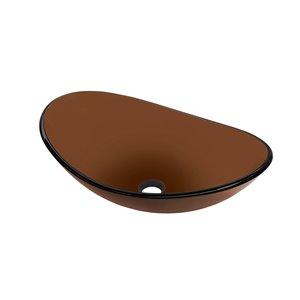 Novatto Chiaro Oval Vessel Sink - 15-in - Brown Glass/Brushed Nickel