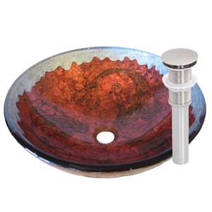 Novatto Carpione Round Vessel Sink - 16.5-in - Red and Silver/Brushed Nickel