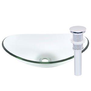 Novatto Chiaro Oval Vessel Sink - 15-in - Clear Glass/Chrome
