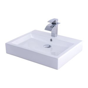 Novatto Porcelain Rectangular Vessel Sink - 22.25-in - White/Chrome Drain