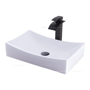 Novatto Porcelain Rectangular Vessel Sink - 13.75-in - White/Oil Rubbed Bronze