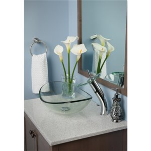 Novatto Best Value Oval Vessel Sink - 15-in - Clear Glass