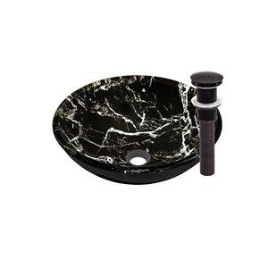 Novatto Pallina Round Vessel Sink - 16.5-in - Black Marbled Glass/Oil Rubbed Bronze