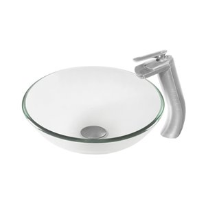 Novatto Bonificare Vessel Sink - 16-in - Clear Glass/Brushed Nickel