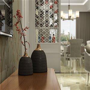 Gild Design House Mavis Small Decorative Metal Vase - Black - 9-in