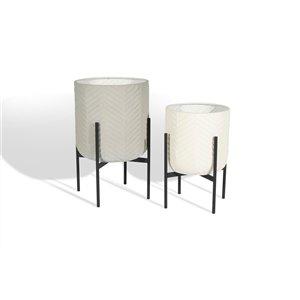 Gild Design House Ginkgo Decorative Metal Floor Planters - Set of 2
