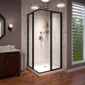 DreamLine Cornerview Corner Shower Kit in Satin Black and Square Base in White - 36-in x 36-in x 76.75-in